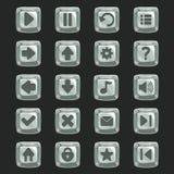 Grupo dos botões de pedra para o projeto e as aplicações de jogo ilustração do vetor