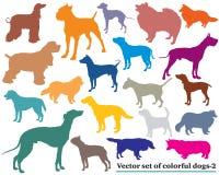 Grupo dos cães coloridos silhouettes-2 Fotos de Stock