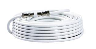Grupo dos cabos brancos da tevê com conectores fotos de stock