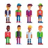 Grupo dos caráteres masculinos no projeto liso Foto de Stock