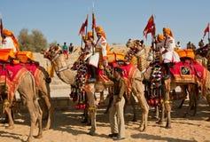 Grupo dos cavaleiros do camelo em uniformes indianos Imagem de Stock