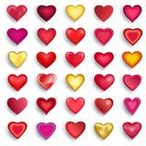 Grupo dos corações 3d para o dia de Valentim, casamento, aniversário ilustração do vetor