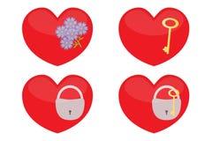 Grupo dos corações de vidro Fotos de Stock