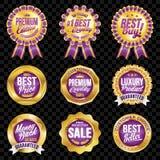 Grupo dos crachás violetas da qualidade excelente com beira do ouro Fotos de Stock