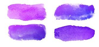 Grupo dos cursos violetas da escova da aquarela Imagens de Stock