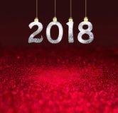 Grupo dos dígitos brilhantes de prata no fundo do brilho Fundo 2018 do ano novo Natal fotografia de stock