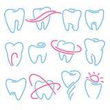 Grupo dos dentes, ícones do dente no fundo branco Pode ser usado como o logotipo para dental, o dentista ou a clínica do stomatol Foto de Stock
