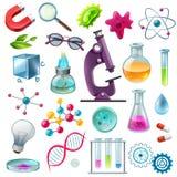 Grupo dos desenhos animados dos ícones da ciência ilustração royalty free