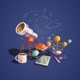Grupo dos desenhos animados da astronomia ilustração do vetor
