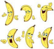 Grupo dos desenhos animados da banana ilustração stock