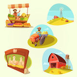 Grupo dos desenhos animados da exploração agrícola Fotografia de Stock