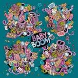 Grupo dos desenhos animados da garatuja de objetos do bebê Fotos de Stock Royalty Free