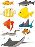 Grupo dos desenhos animados da vida da água Imagens de Stock Royalty Free