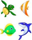 Grupo dos desenhos animados da vida marinha Imagem de Stock Royalty Free