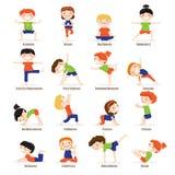 Grupo dos desenhos animados das poses da ioga das crianças das crianças Foto de Stock Royalty Free