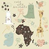 Grupo dos desenhos animados de animais selvagens e de flores. Fotografia de Stock