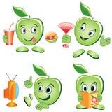 Grupo dos desenhos animados de Apple ilustração royalty free