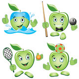 Grupo dos desenhos animados de Apple Fotografia de Stock Royalty Free