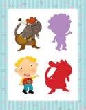 Grupo dos desenhos animados de caráteres medievais rei e de gato - jogo de pesquisa com sombras ilustração royalty free