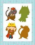Grupo dos desenhos animados de caráteres medievais rei e de gato - jogo de pesquisa com sombras ilustração stock