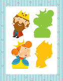 Grupo dos desenhos animados de caráteres medievais rei e de rainha - jogo de pesquisa com sombras ilustração royalty free