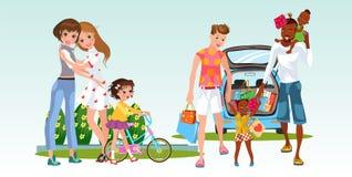 Grupo dos desenhos animados de duas famílias com suas crianças ilustração do vetor
