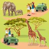 Grupo dos desenhos animados de duas famílias que tomam imagens do animal no jardim zoológico ilustração royalty free