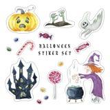 Grupo dos desenhos animados de etiquetas de Dia das Bruxas ilustração stock