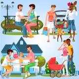 Grupo dos desenhos animados de famílias felizes com bebês pequenos ilustração stock
