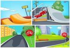 Grupo dos desenhos animados de fundos da pista do skatepark e da bicicleta ilustração stock