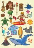 Grupo dos desenhos animados de Havaí Imagens de Stock Royalty Free