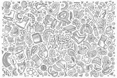 Grupo dos desenhos animados de objetos da estação do inverno ilustração stock