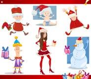 Grupo dos desenhos animados de Papai Noel e de Natal Imagem de Stock