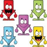 Grupo dos desenhos animados de setas engraçadas para baixo Imagem de Stock