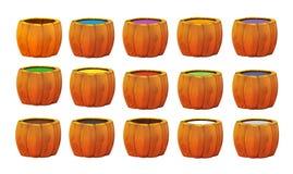 Grupo dos desenhos animados de tambores de madeira com cores diferentes da pintura - Imagem de Stock Royalty Free
