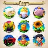 Grupo dos desenhos animados de vegetais e de homens dos animais Imagens de Stock