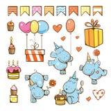Grupo dos desenhos animados do aniversário Fotografia de Stock Royalty Free