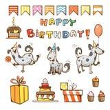 Grupo dos desenhos animados do aniversário Foto de Stock Royalty Free