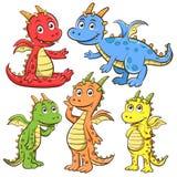 Grupo dos desenhos animados do dragão Fotos de Stock Royalty Free