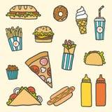 Grupo dos desenhos animados do Fastfood Fotografia de Stock Royalty Free