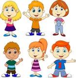 Grupo dos desenhos animados do menino e da menina Fotografia de Stock Royalty Free
