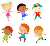 Grupo dos desenhos animados do menino e da menina Imagem de Stock Royalty Free