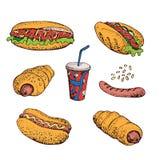 Grupo dos desenhos animados do vetor de fast food Cachorro quente, salsicha na massa, grade, soda Isolado no branco Fotos de Stock Royalty Free