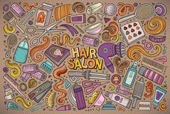 Grupo dos desenhos animados do vetor de objetos do tema do cabeleireiro Foto de Stock