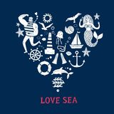 Grupo dos desenhos animados dos ícones do mar Imagens de Stock
