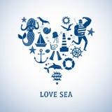 Grupo dos desenhos animados dos ícones do mar Fotografia de Stock Royalty Free