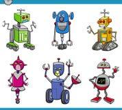 Grupo dos desenhos animados dos caráteres do robô Imagens de Stock Royalty Free