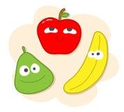 Grupo dos desenhos animados dos frutos Imagem de Stock