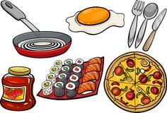 Grupo dos desenhos animados dos objetos da cozinha e do alimento Imagens de Stock Royalty Free