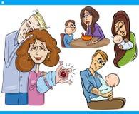 Grupo dos desenhos animados dos pais e das crianças ilustração do vetor